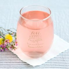 Toast to love, friendship and wine at your wedding or bridal shower with personalized wine glasses. These stemless wine glasses are a little larger so that you can eat, drink and be merry well into the night.