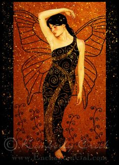 Art Deco Gustav Klimt style fairy artwork with gold leafing painting  Kimberly Crick