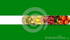 #Apples, #cherries, #berries, citrus and #exotic/tropical #fruits inside twelve aligned #circles with shadow underneath and bound by a white #ribbon, on green background
