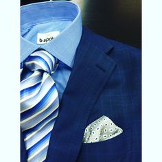 This attorney will look amazing in his new navy plaid suit by b.spoke. Fabric by Gladson's Alazer collection. Tie by Geoff Nicholson. #bspoke #blue #bluesuitsmatter.