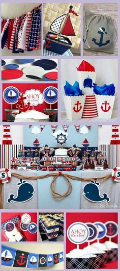 Ideas For Baby Shower Boy Theme Sailor - Baby Shower Decorations Fiesta Baby Shower, Boy Baby Shower Themes, Baby Shower Parties, Baby Boy Shower, Sailor Theme Baby Shower, Shower Party, Baby Showers Marinero, Sailor Baby Showers, Sailor Birthday
