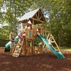 This Wood Swing Set Kit brings breathtaking aesthetics and action-packed play value to your backyard living space. This multi-level activity center comes complete with three play decks totaling 29 square feet, 2 super fun slides, a roped rock climbing wall, below deck activity table, 2 swings, and a great hideaway clubhouse all topped off with a soaring wood roof! Features the award winning Rapid-Loc Bracket System to help ease build time.