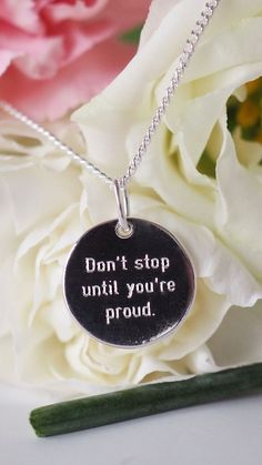 DON'T STOP UNTIL YOUR PROUD. Discover our full range, including this motivational quote necklace. Engraved minimalist sterling silver pendant, prices start at £25. Hand-made by an independent jewellery designer. You can also personalise your necklace for a truly unique gift.  #zealandheart #silvernecklace #giftsforgirls