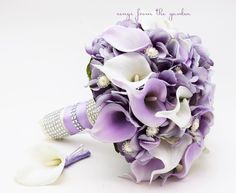 Lavender & White Real Touch Calla Lily Wedding Bouquet Real Touch Lavender White Calla Lilies Lavender Hydrangea Rhinestone Pearl Accents by SongsFromTheGarden on Etsy https://www.etsy.com/listing/467366361/lavender-white-real-touch-calla-lily