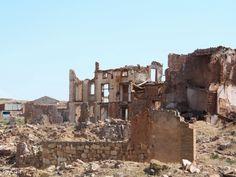 Belchite Viejo. Zaragoza. Entre el 24 de agosto y el 6 de septiembre la población de Belchite Viejo sufrió una terrible batalla quedando totalmente destruida.