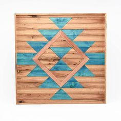 Boho Abstract Wood Wall Art - Blue