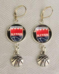 Sacramento Kings Earrings w/Basketball Charm Upcycled from Basketball Cards #SacramentoKings