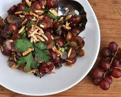 Text, photograph and recipe for Grape Salad with Almonds & Cilantro © Kitchen Parade, All Rights Reserved.