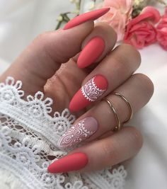 Pretty & Easy Gel Nail Designs to Copy in Trendy Gel Nails Designs Inspirations; The post Gel Nails Designs Inspirations appeared first on Trendy. Cute Acrylic Nails, Gel Nail Art, Fun Nails, Coral Gel Nails, Glow Nails, Almond Gel Nails, Almond Shape Nails, Nails Shape, Nail Art Designs
