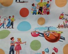 NEW Dick and Jane FUN PARK Fabric 100% Cotton Fabric One Yard Michael Miller Fabrics Dick and Jane 1940 -1965 Fun Park Vintage Look 50s 60s