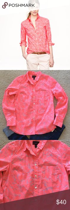 """J. Crew Boy Shirt in Tropical Floral J. Crew Boy Shirt in Tropical Floral. 'Much better than stealing his.' Super fun neon pink color. 100% cotton. Long sleeves. Button front. Laying flat approx 26.5"""" shoulder to hem, approx 18.5"""" pit to pit. Size 4. Excellent condition. J. Crew Tops Button Down Shirts"""