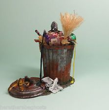 Dollhouse Miniature 1:12 Witch's Rusty FILLED GARBAGE CAN OOAK Halloween Haunted