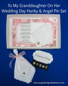 To My Granddaughter On Her Wedding Day Hanky & Angel Pin Set is a perfect keepsake gift to give your granddaughter on her wedding day.  She can wear the angel pin, or pin it somewhere on her bouquet. It comes in a white gift box with your choice of a touching poem card, your choice of an embroidered or lace handkerchief, and your choice of five handcrafted angel pins. Check out my other gift sets on my web site. https://www.angeldesignsbydenise.com/category.php?ct=484&id=261#subcat484
