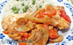 Bakonyi lecsós csirkemell recept fotóval Hungarian Recipes, Shrimp, Chicken Recipes, Turkey, Food And Drink, Dishes, Diet, Turkey Country, Tablewares
