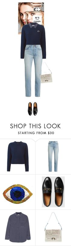 """""""Outfit of the Day"""" by wizmurphy ❤ liked on Polyvore featuring Chanel, Proenza Schouler, Yves Saint Laurent, Gucci, Equipment, Paula Cademartori, J.Crew, ootd and gucci"""