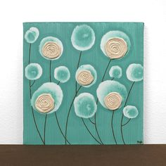 Teal And Brown Wall Decor new contemporary metal wall art sculpture - teal poppy flower head