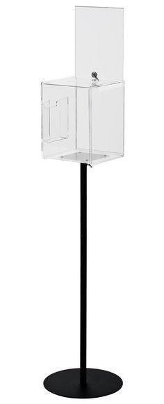 Clear Acrylic Ballot Box w/ Lock, (2) 8.5 x 11 Sign Frames, Side Pocket & Floor Stand