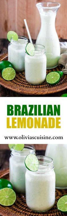 Brazilian Lemonade | http://www.oliviascuisine.com | The creamiest and sweetest lemonade (or limeade) you have ever tried. The secret? Sweet condensed milk. Sweet just like Brazilians like it!