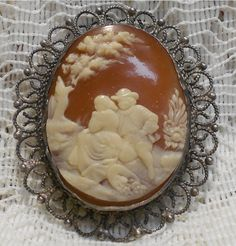 Vintage Sterling Silver Molded Cameo by ViksVintageJewelry on Etsy, $79.99