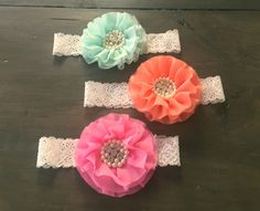 Large Flower Headband - Lace Girl Headband - Pink - Coral - Teal