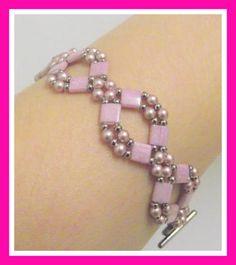Pink Tila Beads Bracelet, Beadweaving,