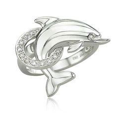 14k white gold diamond dolphin ring - Dolphin Wedding Rings