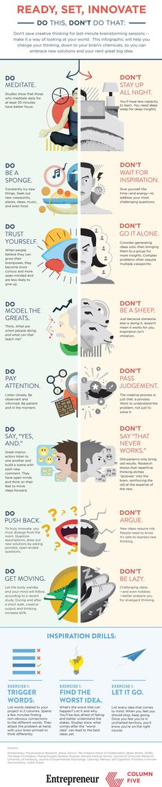 Business infographic & data visualisation How You're Killing Your Own Creativity (Infographic) Entrepreneur, Small Bus. Infographic Description How Self Development, Personal Development, Successful People, Better Life, Self Improvement, Self Help, Life Lessons, Coaching, Life Hacks