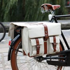 Very smart bike panniers  designed to look like school satchels, from Cycle Chic .