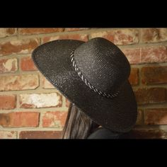 Oversized hat Oversize black and silver straw hat.  Very sassy for the beach or a cruise.  Fully covers your face from the sun and keeps your beauty intact! Accessories Hats