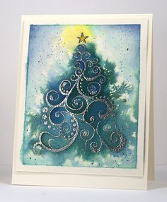 Oh Christmas Tree Heather Telford she gives the technique for making the card. Christmas Cards To Make, Xmas Cards, Handmade Christmas, Holiday Cards, Christmas Crafts, Christmas Trees, Christmas Stuff, Greeting Cards, Penny Black Cards