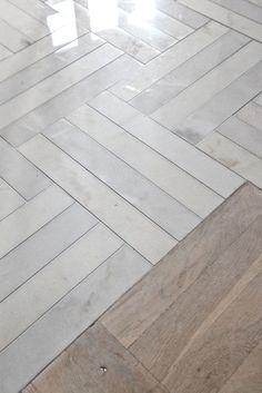 Herringbone marble floor. Similar can be created by Mandarin Stone. www.mandarinstone.com