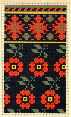 Folk knitting fair isle flower floral chart etno