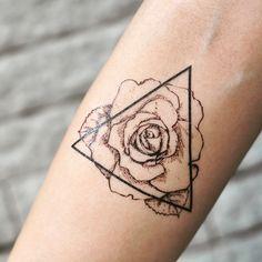 Triangle Rose Outline Temporary Tattoo | Fake Tattoo Sticker (Set of 2)