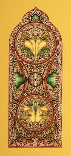 Travail impressionant d'Eric Standley qui réalise des fresques architecturale uniquement avec du papier découpé.