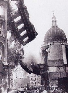 A Cathedral is destroyed by planes dropping bombs. There were no warning signs for people to evacuate.