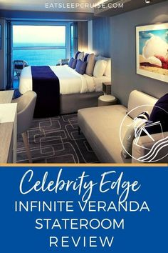 Celebrity Edge Infinite Veranda Stateroom Review | EatSleepCruise.com We recently sailed the Celebrity Edge in one of the new Infinite Veranda staterooms. Read our honest review of these cabins and windows. If you are booking a cruise on Celebrity Edge, save this pin for tips and hacks to determine if you want to upgrade to the new space. #cruise #cruiseship #CelebrityCruises #CelebrityEdge #eatsleepcruise