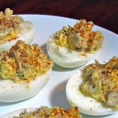 This crab deviled eggs recipe is made with fresh backfin lump crab meat and Old Bay seasoning, giving these deviled eggs with crab a rich flavor. Use the best crab meat you can find for these deviled eggs with crab. Crab Deviled Eggs Recipe, Crab Eggs, Meat Appetizers, Appetizers For Party, Appetizer Recipes, Appetizer Dishes, Christmas Appetizers, Dinner Dishes, Dinner Recipes