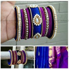 Blue and Purple - Handmade Silk Thread Woven Bangle - Indian Jewelry Accessorize your outfits with hand woven silk thread bangles matching your dress. This also works good for baby shower or bridal shower favor/return gifts. The bangle color can be customized to any color of your