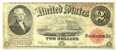 1917 Two Dollar 2 Bill United States Legal Tender Large Note Red Seal F-60 | eBay