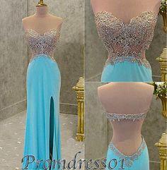 #promdress01 prom dresses - 2015 cute sweetheart strapless open back side slit blue chiffon prom dress for teens, beaded ball gown, custom made evening dress