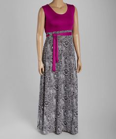 Look what I found on #zulily! Berry & Black Floral Maxi Dress - Plus #zulilyfinds