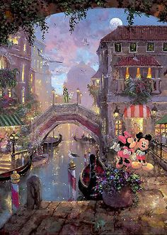 Mickey Mouse - A Smooch in Venice - Original - James Coleman - World-Wide-Art.com