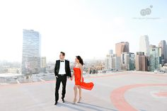 jennifer + shawn | engagement session | dtla rooftop helipad + vintage hollywood