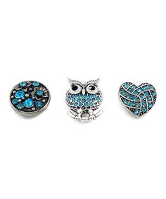 This Blue Rhinestone Owl Large Interchangeable Snap Charm Set is perfect! #zulilyfinds