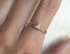 Wedding Set Diamond Set Unique Weddint Ring Set Black by MinimalVS