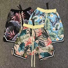 Pug Novelty Gifts Happy Expression Quick-Drying Floral Beach Pants Womens Stylish Beach Board Shorts
