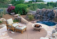 Desert terrace  A circular patio of tinted concrete aggregate is edged with rose flagstone. The naturalistic spa backing, tough plantings and the paving's rosy tones visually connect the patio to the surrounding desert.        MSN Lifestyle: 20 outdoor room design ideas