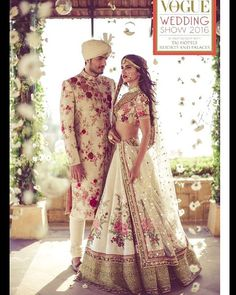 Here are the best Pakistani and Indian matching wedding dresses for bride and groom in There are the unique bride and groom dress color combinations. Vogue Wedding, Desi Wedding, Wedding Wear, Wedding Gowns, Wedding Groom, Lehenga Wedding, Wedding Suits, Trendy Wedding, Wedding Blue