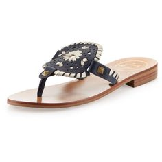 Jack Rogers Georgica Leather Thong Sandal (38.130 HUF) ❤ liked on Polyvore featuring shoes, sandals, leather sandals, low heel sandals, navy blue flat sandals, navy flat sandals and thong sandals
