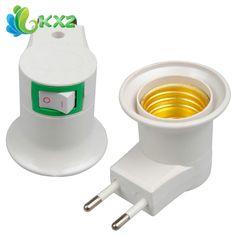 Base E27 Socket EU Plug Lampu Malam Dengan Power On-off Control Beralih